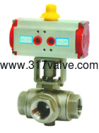 (NUD-BV3BL/NUB-BV3BT)  PNEUMATIC ACTUATED 3-WAY BALL VALVE SCREWED END (STD DOUBLE ACTING