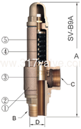 (SV-B9A/SVP-B9A) LOW LIFT BRONZE SAFETY RELIEF VALVE
