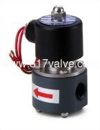 (UDC 耐酸鹼中流量系列 PVC閥體) 直動式通電開型電磁閥