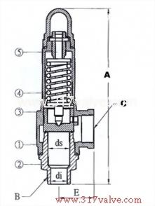 BRONZE SAFETY RELIEF VALVE (1x2) (SV-B9DA/SVP-B9DA)