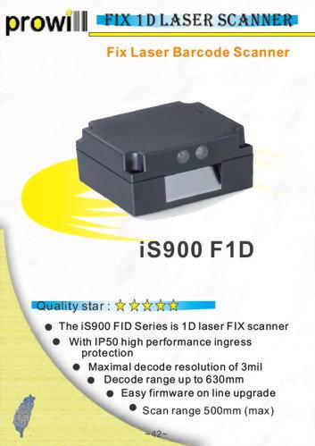 Barcode Scanner-Fix Scanner-iS900 F1D