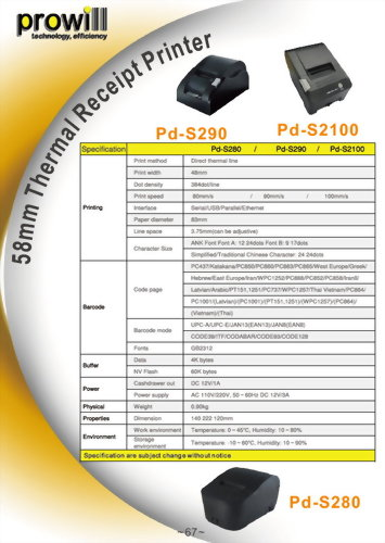 Thermal Receipt Printer-Receipt 2 inch-Pd-S280_290_2100