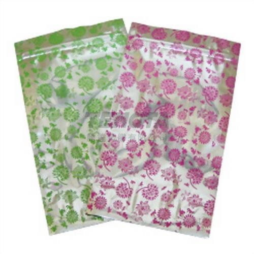 桃紅花/綠花夾鏈 食品立袋-13