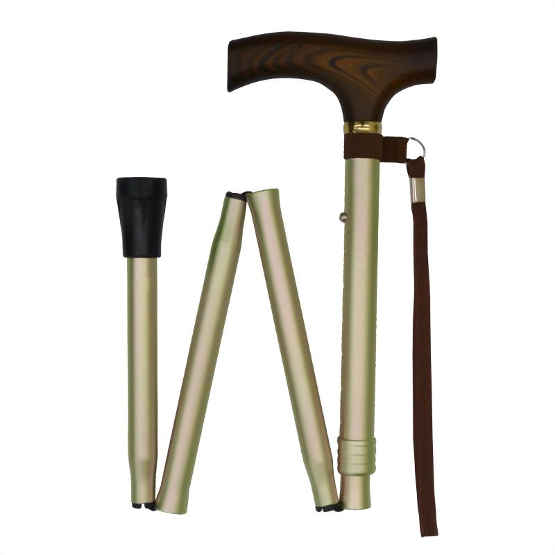 鈦色基本款 折疊休閒杖 輕量化鋁合金 木質握把