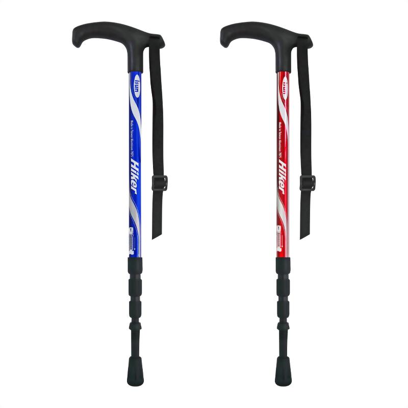 Hiker 4-section Anti-shock walking stick T-handle