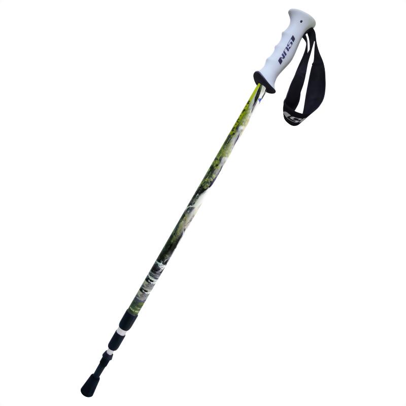 小烏來風景特定區 高強度鋁合金 三段式避震登山杖 直立握把