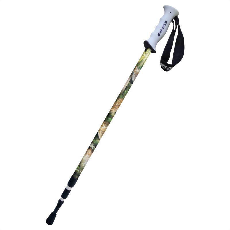 黃嘴角鴞 三段式避震登山杖 直立握把