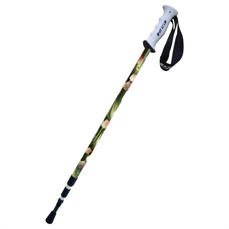 鬱金香 三段式避震登山杖 直立握把