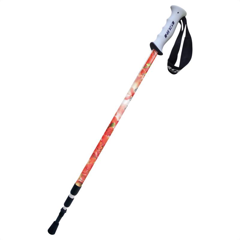 鳳凰花 三段式避震登山杖 直立握把