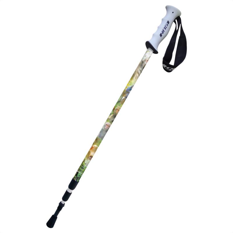 台灣獼猴 三段式避震登山杖 直立握把
