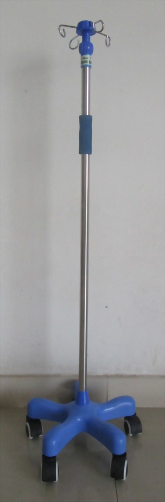 Stainless Steel I.V. Pole, Weighted Steel Base