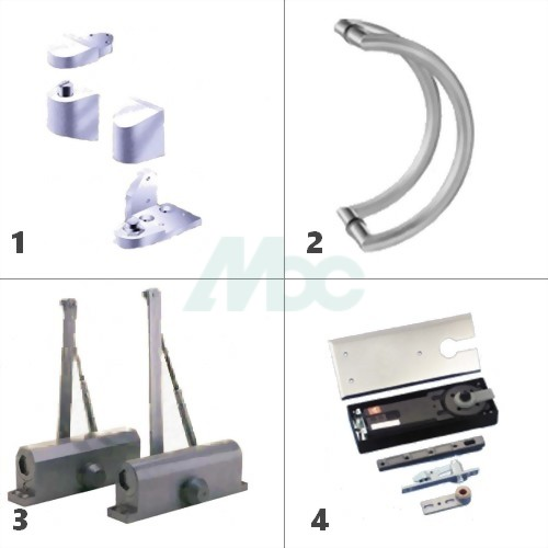 1. Pivot Sets  2. Aluminum Grip Handles  3. Hydraulic Door Closers  4. Concealed Floor Closers