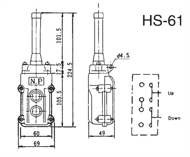 Pendant Switches Dimension HS-61