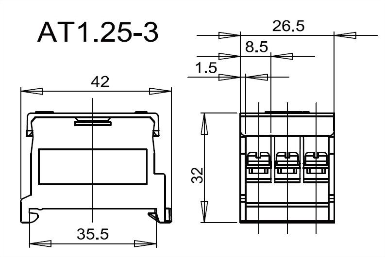 軌道組合式端子台 AT1.25-3