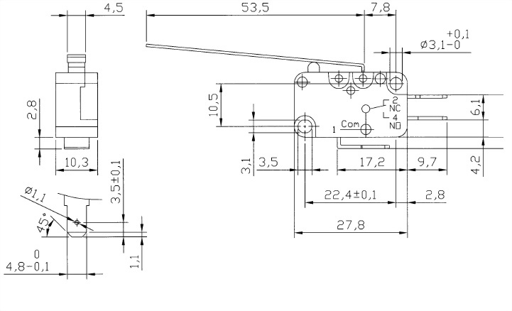 V15系列微動開關 V15-187-03 2