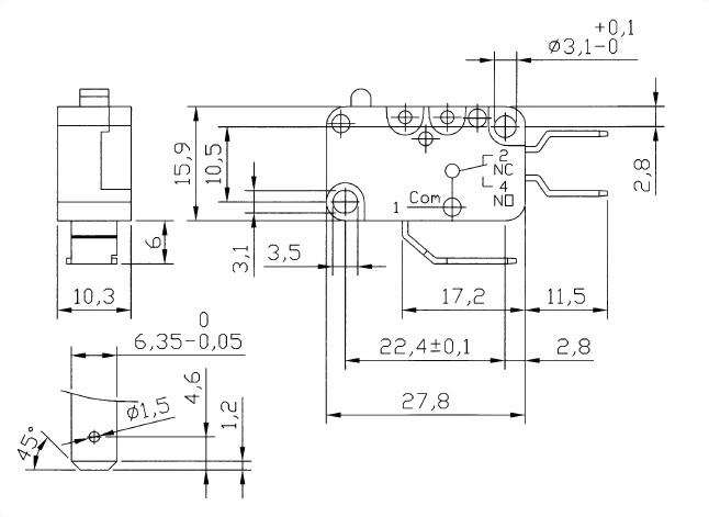 V15系列微動開關 V15-250-00 2