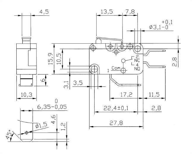 V15系列微動開關 V15-250-01 2