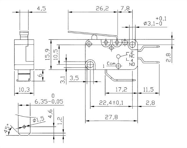 V15系列微動開關 V15-250-02 2