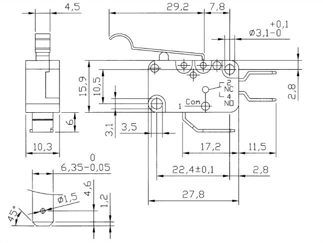 V15 Series Micro Switches V15-250-04 2
