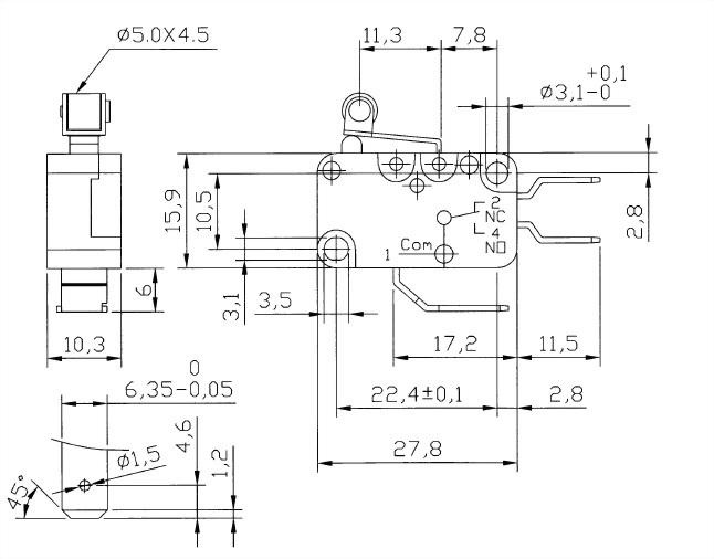 V15系列微動開關 V15-250-05 2