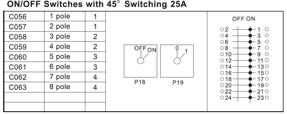 25A開關(45度)