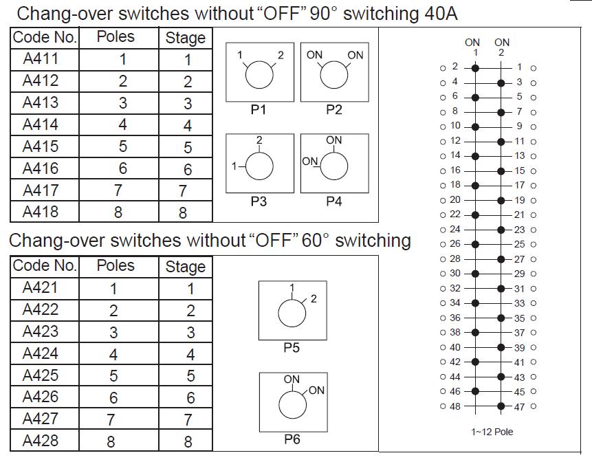 40A轉換開關,不關閉(60度開關)2