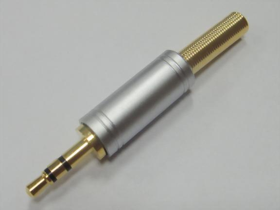 3.5mm Stereo Plug, Gold & Pearl Chrome Plated. Gold Spring for 4mm Cable.