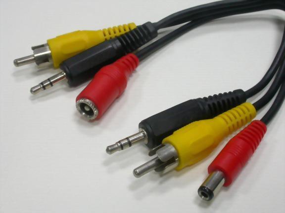 2.5MM DC PLUG+RCA PLUG+3.5MM ST.PLUG TO 2.5MM DC JACK+RCA PLUG+3.5MM ST.PLUG