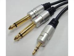 3.5mm Stereo Plug - 2x6.3mm Mono Plugs. D=4+4mm