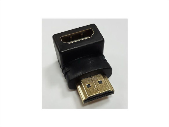 Rt. Angle HDMI Male To HDMI Female, Gold