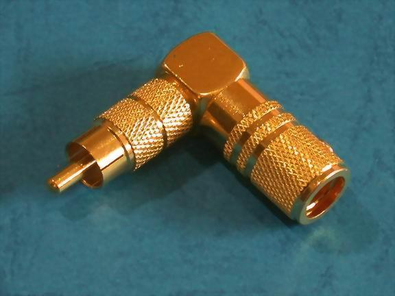 RT. ANGLE RCA PHONE PLUG FOR 7,8MM CABLE, GOLD PLATED