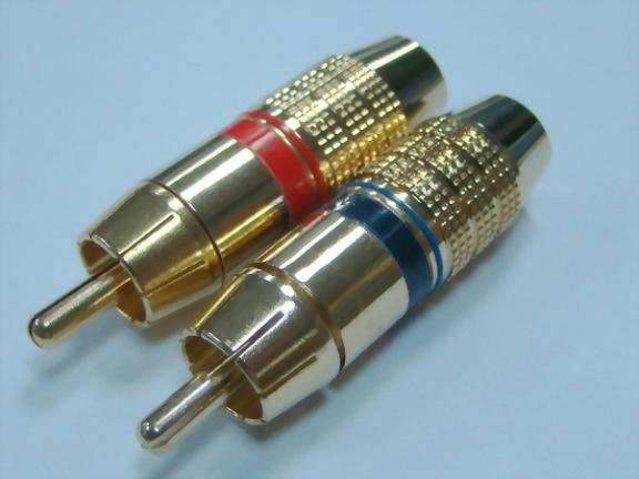 RCA Plug For 6mm Cable, Gold Plated (Red/Blue)