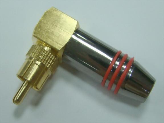 Rt. Angle RCA Phone Plug For 6mm Cable, Tin Plated-Nickel Handle.