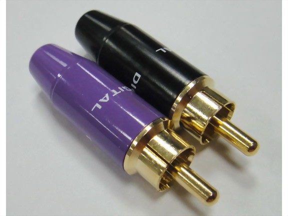 RCA Phone Plug For 5,6mm Cable Handle: Black, Purple