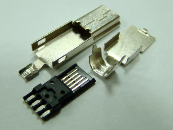 Mini USB 5P Plug, Solder