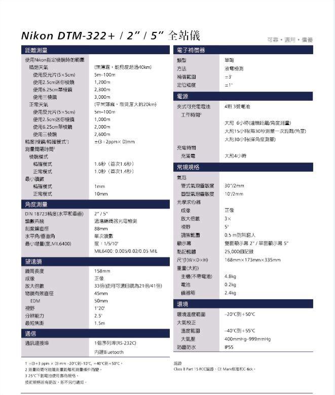 日本 Nikon DTM-322+ 全站儀