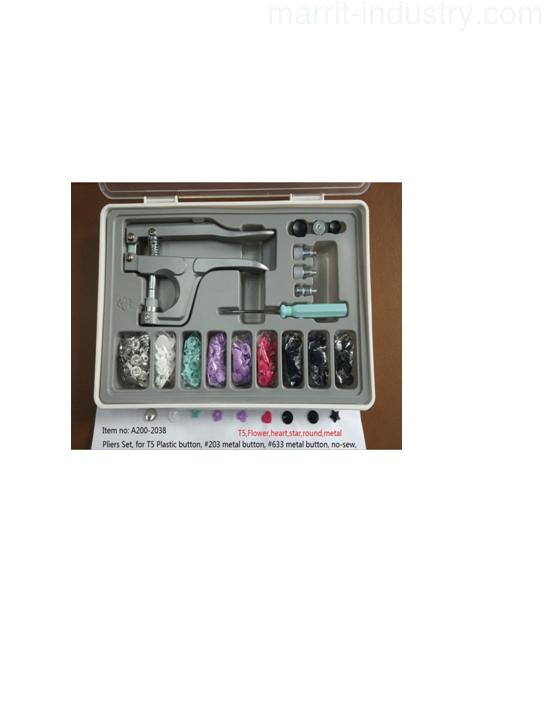 Plastic Snap Fastener Pliers Kit, snap fastener set, A200-2038