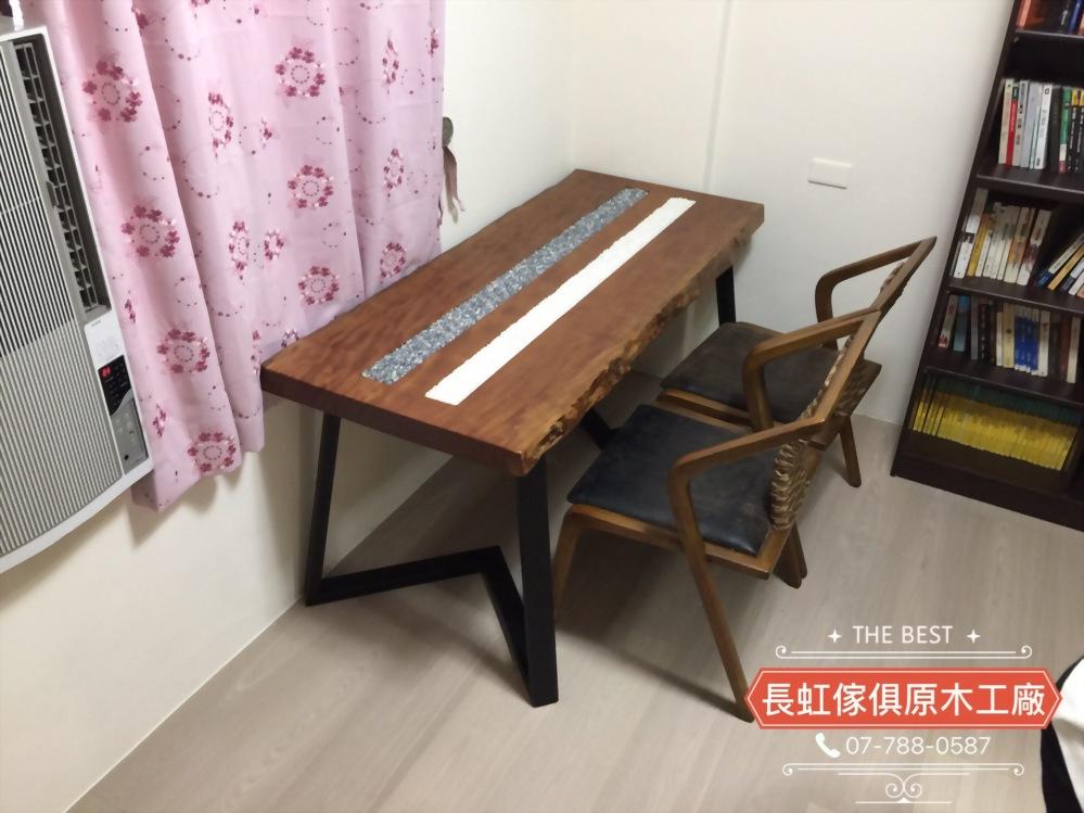 櫻桃木黑白石禪風桌椅組