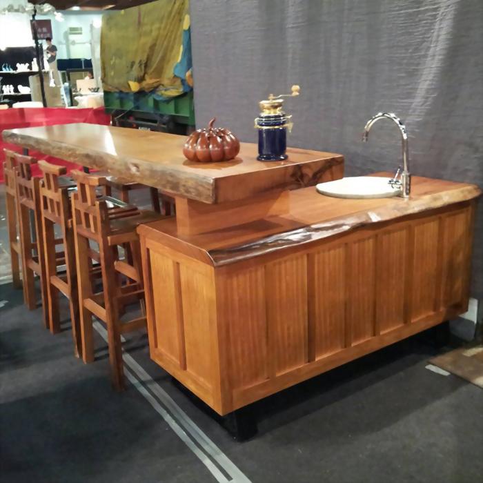 原木桌板流理台櫃