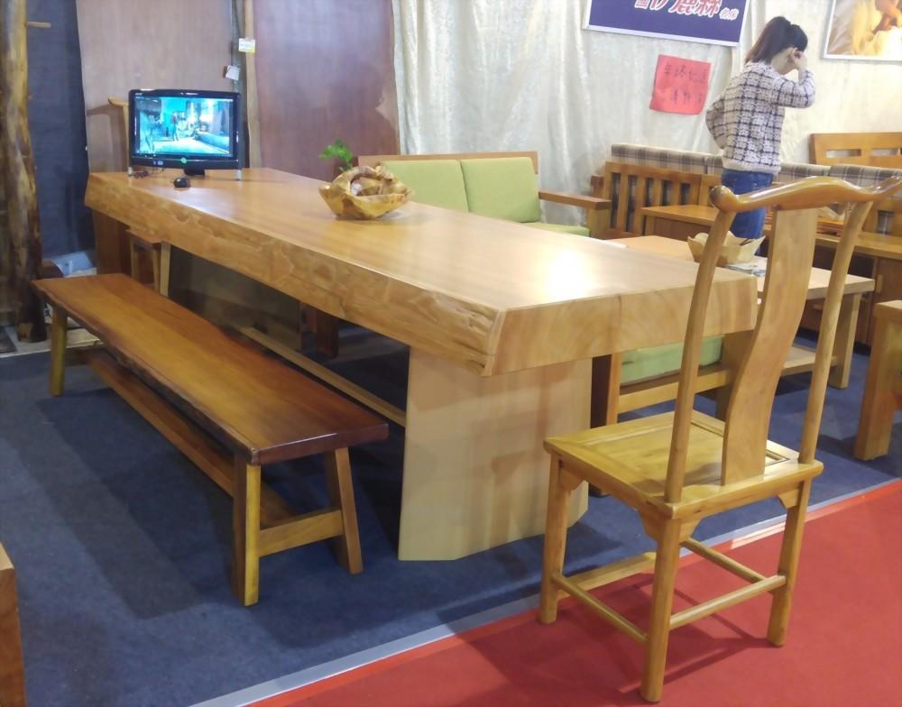 香檜樹皮邊檜木餐桌