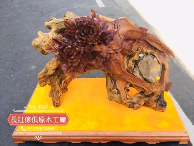 木雕-牡丹喜鵲