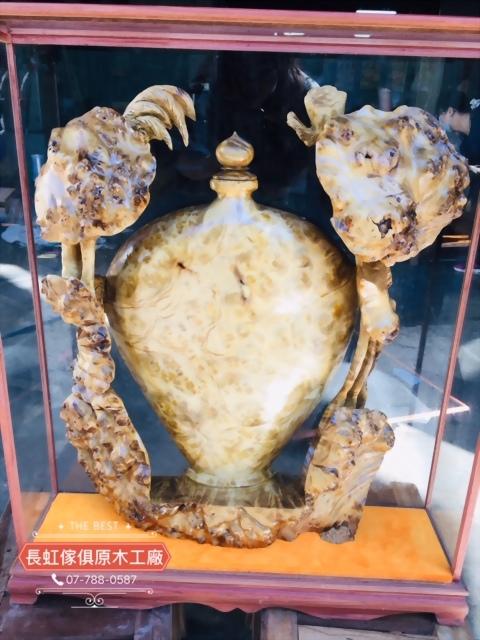 木雕-樹榴花瓶