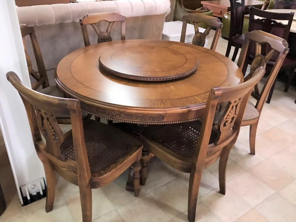 特價出清-實木圓餐桌附六餐椅