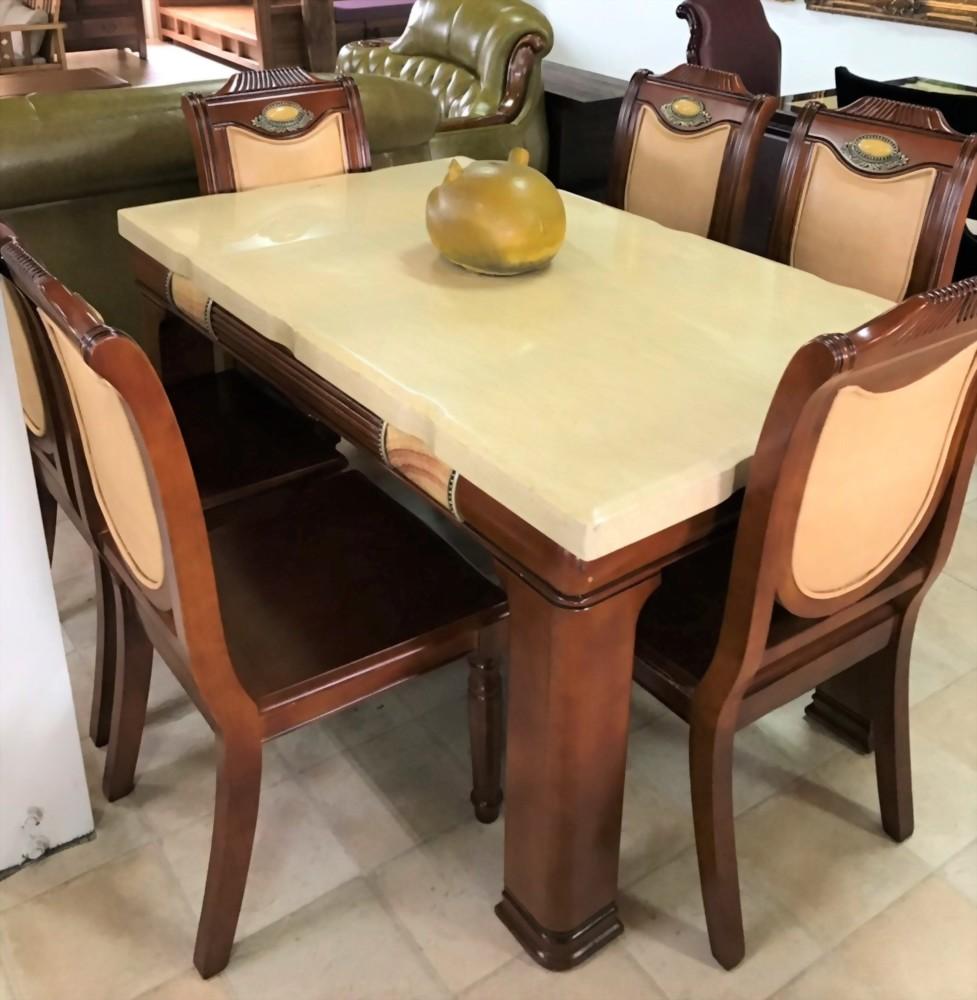 特價出清-長型餐桌附六椅