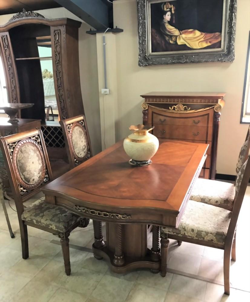 特價出清-實木長型餐桌附4椅