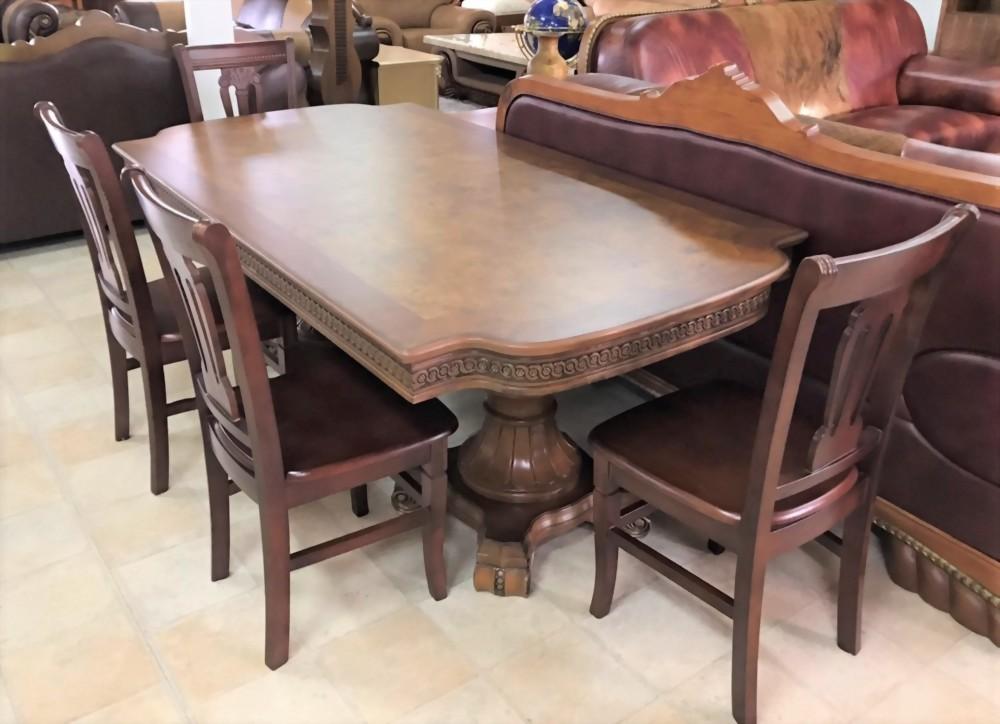 特價出清-邊框雕花長型餐桌附四椅