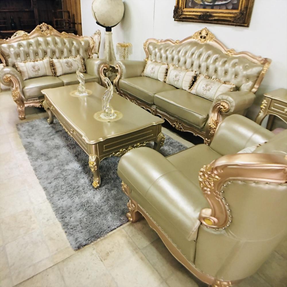 歐式木雕乳膠皮1+2+3沙發