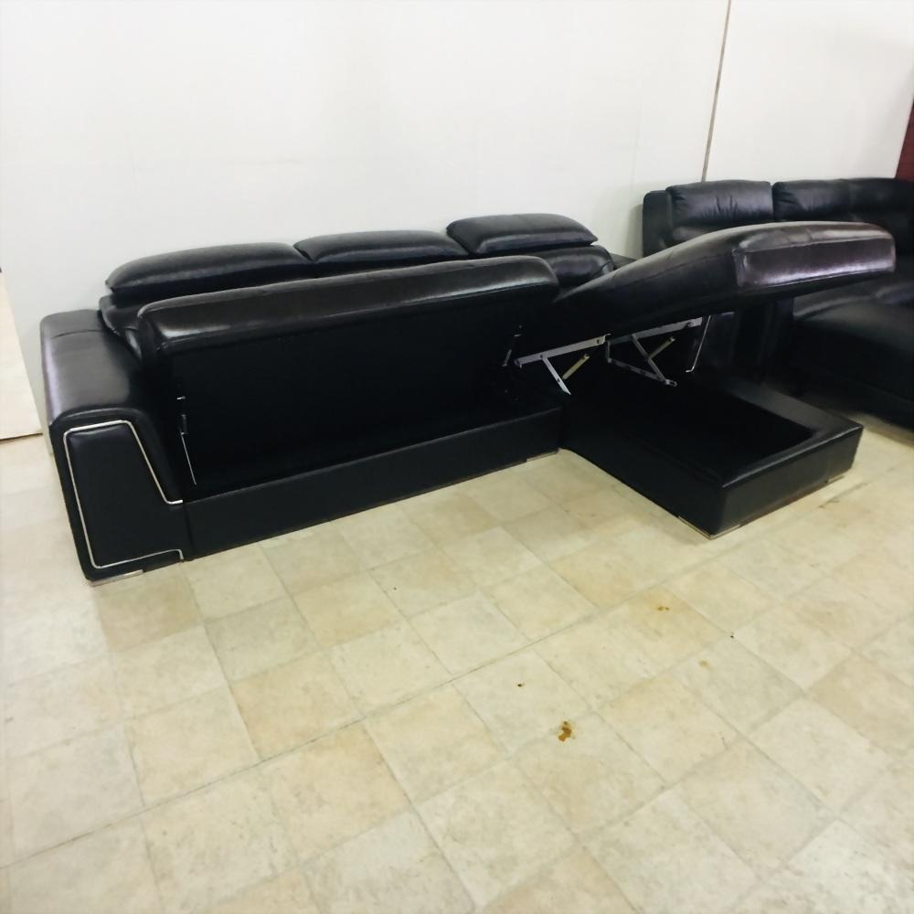 A38#乳膠皮L型收納沙發