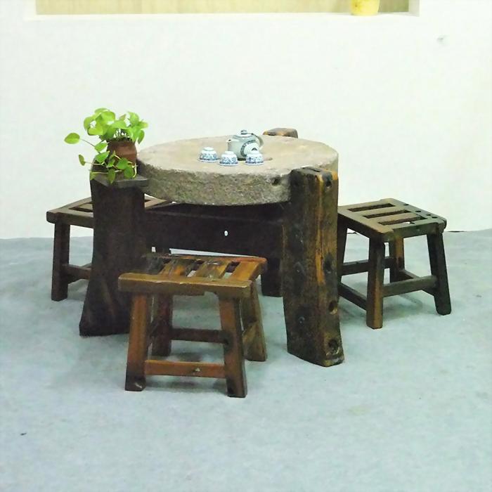 船木三角石磨+條椅(四件組)