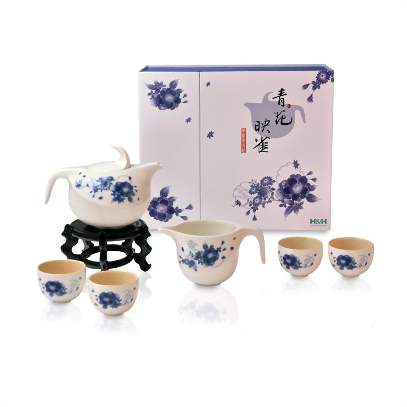 青花映雀茶具組